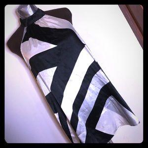 Black & white satin tunic sleeveless